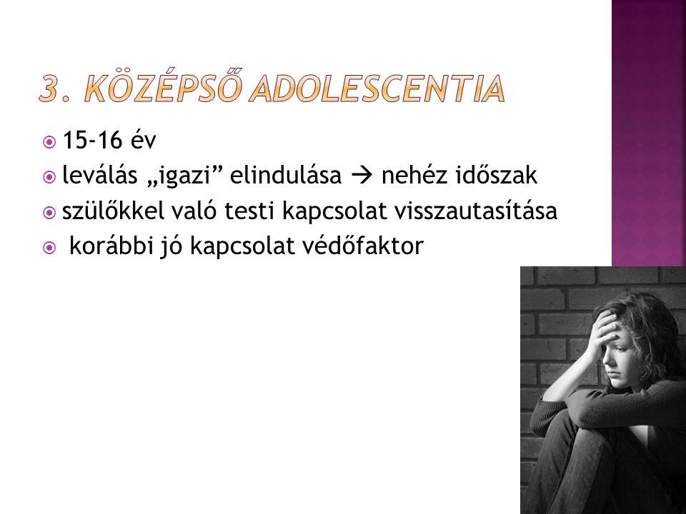 3. Középső adolescentia 15-16 év