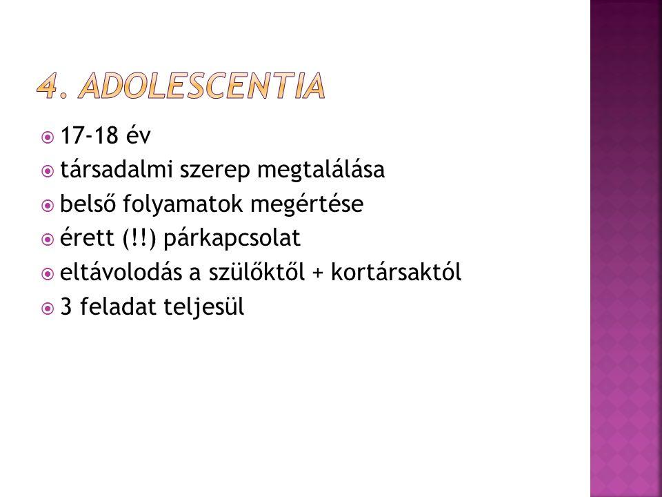 4. Adolescentia 17-18 év társadalmi szerep megtalálása