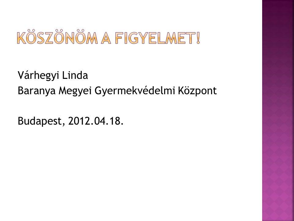 Köszönöm a figyelmet! Várhegyi Linda Baranya Megyei Gyermekvédelmi Központ Budapest, 2012.04.18.
