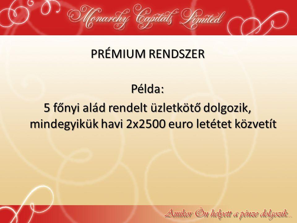 PRÉMIUM RENDSZER Példa: 5 főnyi alád rendelt üzletkötő dolgozik, mindegyikük havi 2x2500 euro letétet közvetít