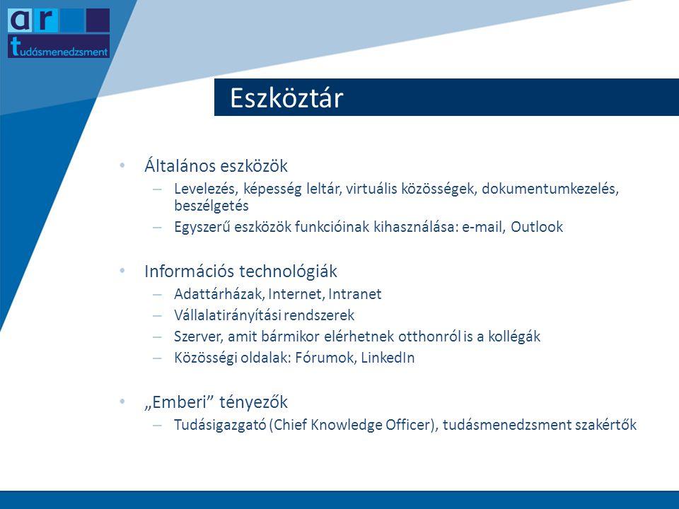 Eszköztár Általános eszközök Információs technológiák