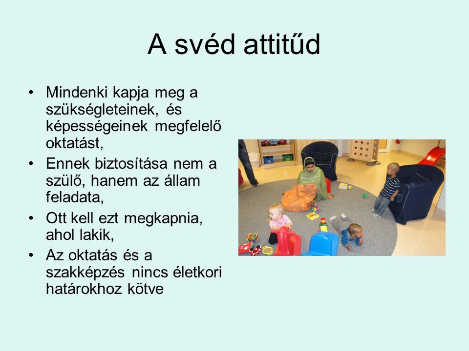 A svéd attitűd Mindenki kapja meg a szükségleteinek, és képességeinek megfelelő oktatást, Ennek biztosítása nem a szülő, hanem az állam feladata,