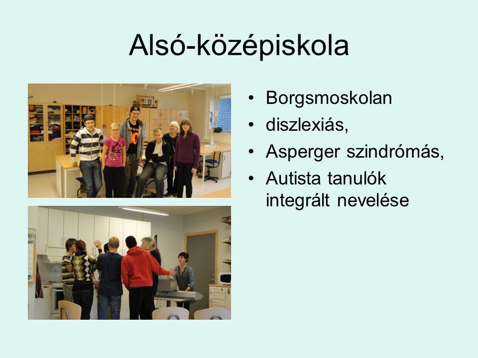 Alsó-középiskola Borgsmoskolan diszlexiás, Asperger szindrómás,