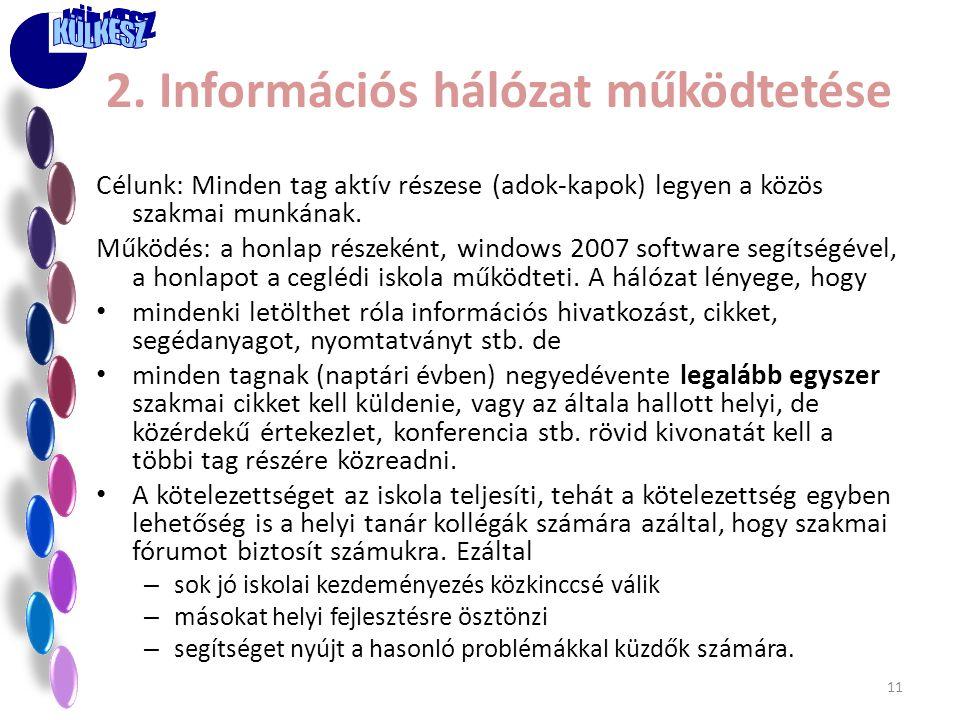 2. Információs hálózat működtetése