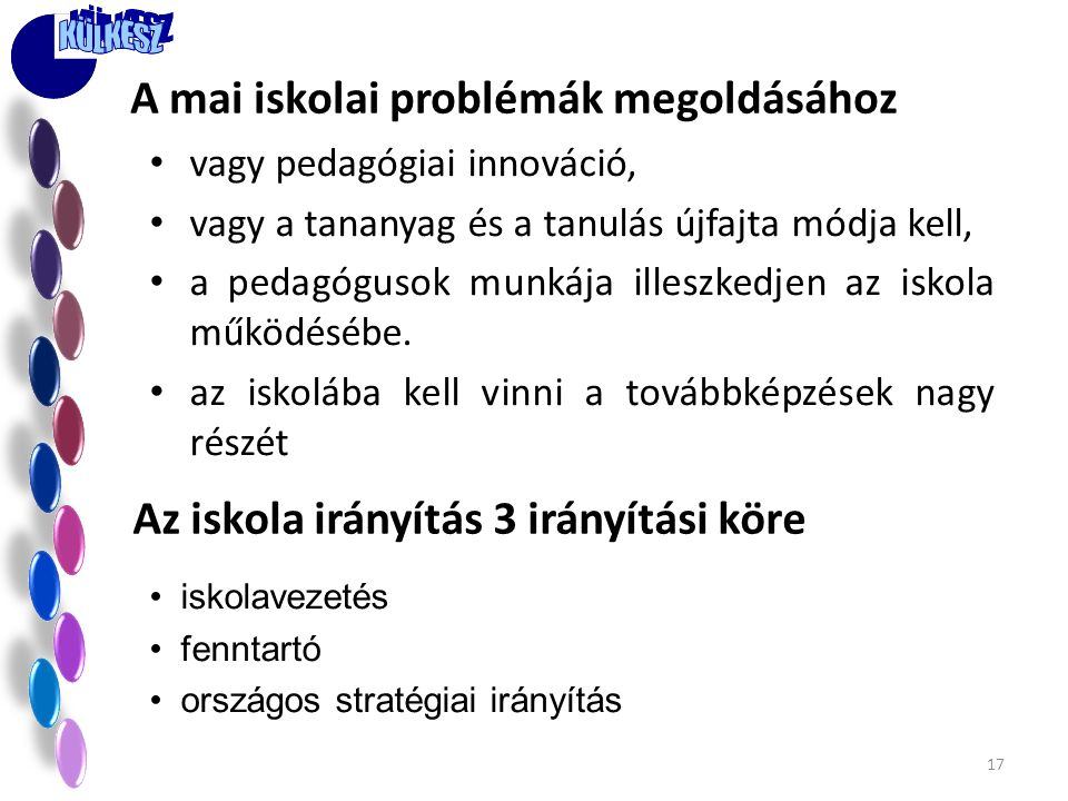 A mai iskolai problémák megoldásához
