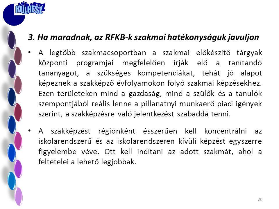 3. Ha maradnak, az RFKB-k szakmai hatékonyságuk javuljon