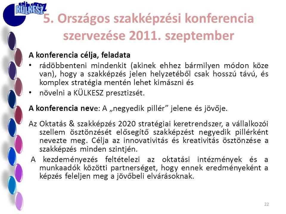 5. Országos szakképzési konferencia szervezése 2011. szeptember