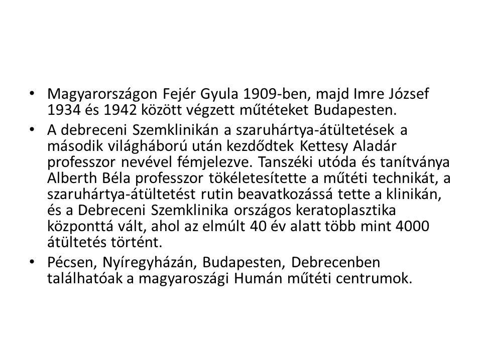 Magyarországon Fejér Gyula 1909-ben, majd Imre József 1934 és 1942 között végzett műtéteket Budapesten.