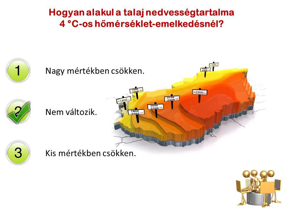 Hogyan alakul a talaj nedvességtartalma 4 °C-os hőmérséklet-emelkedésnél