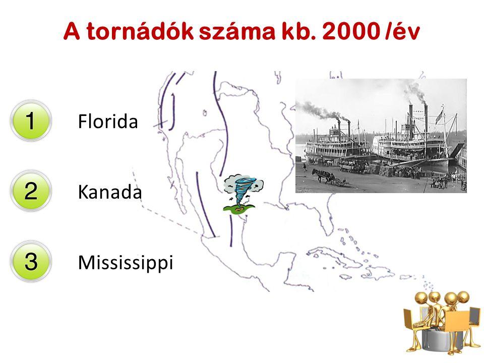 A tornádók száma kb. 2000 /év Florida Kanada Mississippi