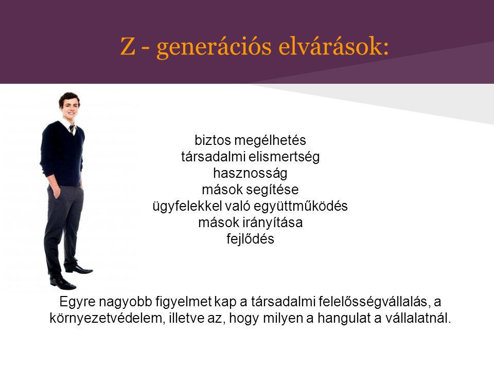 Z - generációs elvárások: