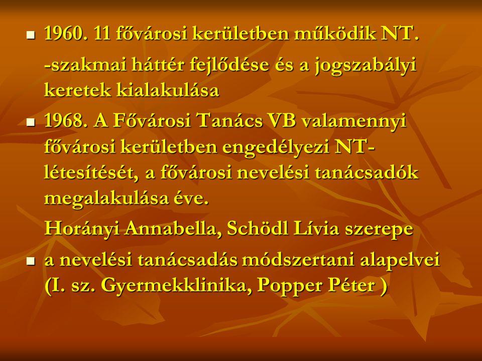 1960. 11 fővárosi kerületben működik NT.