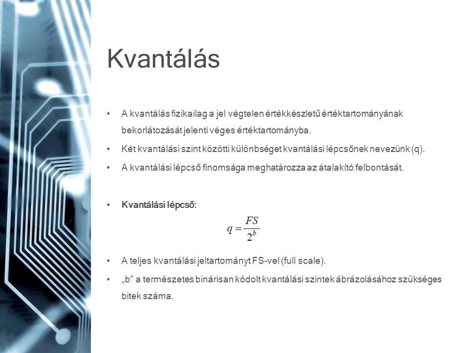 Kvantálás A kvantálás fizikailag a jel végtelen értékkészletű értéktartományának bekorlátozását jelenti véges értéktartományba.
