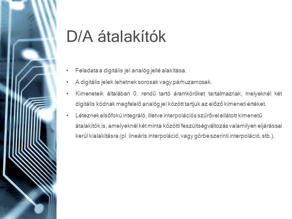 D/A átalakítók Feladata a digitális jel analóg jellé alakítása.