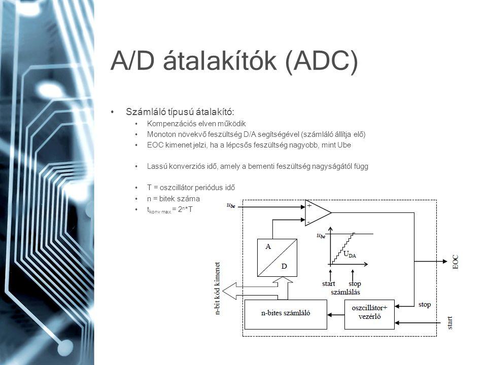 A/D átalakítók (ADC) Számláló típusú átalakító: