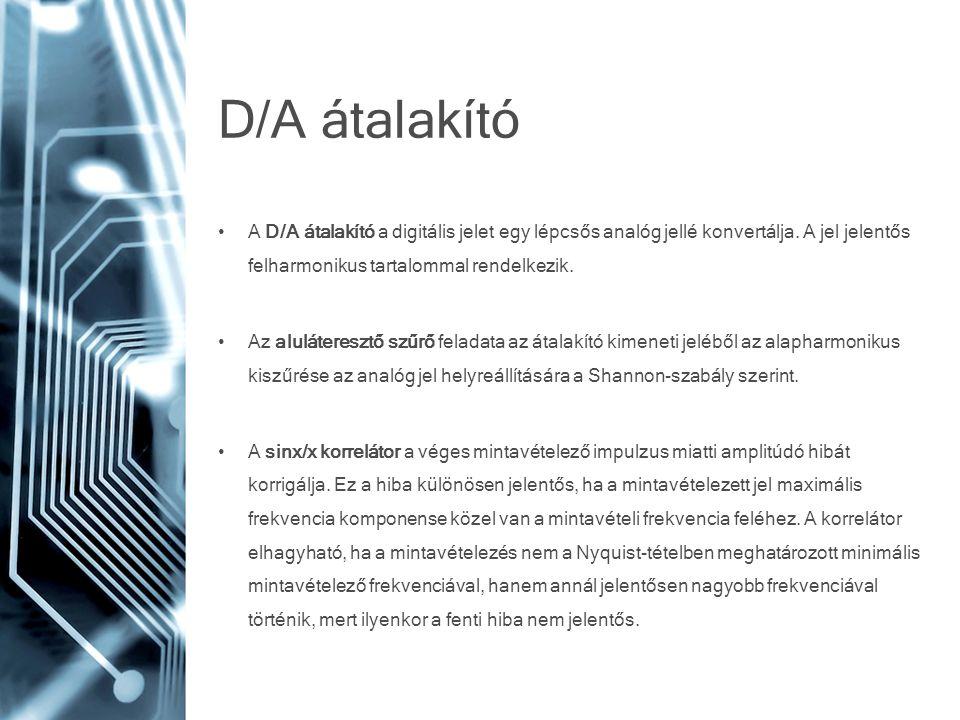D/A átalakító A D/A átalakító a digitális jelet egy lépcsős analóg jellé konvertálja. A jel jelentős felharmonikus tartalommal rendelkezik.