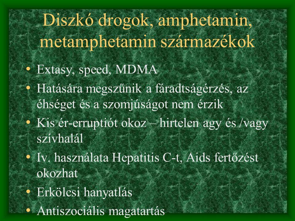 Diszkó drogok, amphetamin, metamphetamin származékok