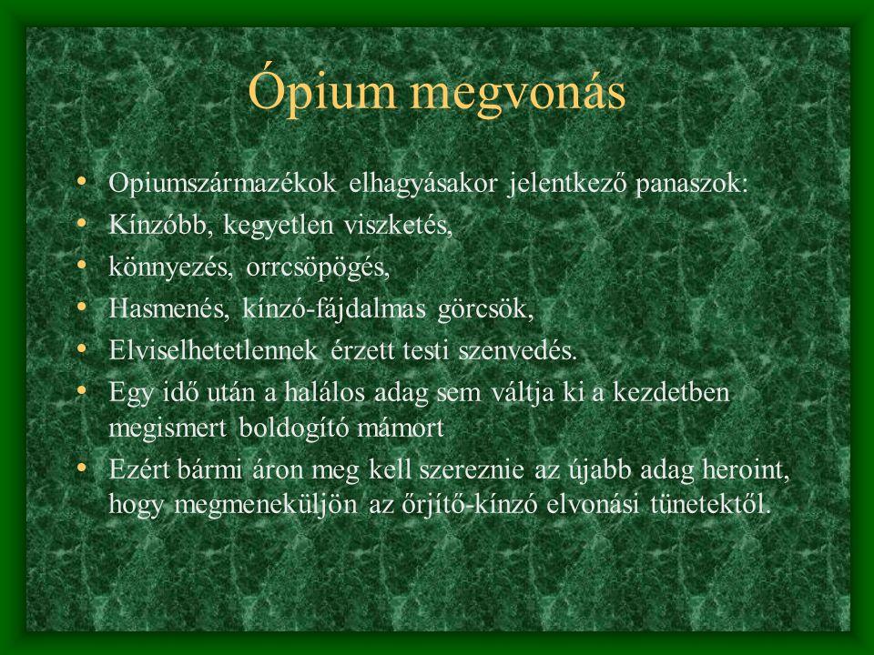 Ópium megvonás Opiumszármazékok elhagyásakor jelentkező panaszok: