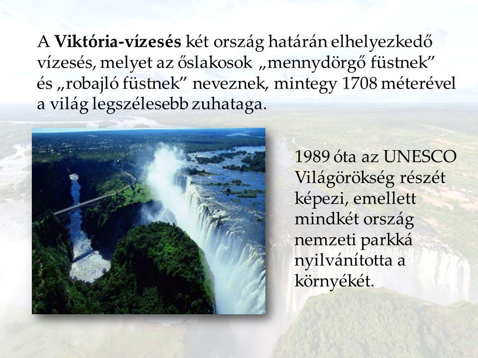 """A Viktória-vízesés két ország határán elhelyezkedő vízesés, melyet az őslakosok """"mennydörgő füstnek és """"robajló füstnek neveznek, mintegy 1708 méterével a világ legszélesebb zuhataga."""