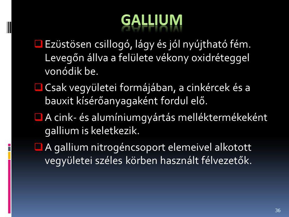 gallium Ezüstösen csillogó, lágy és jól nyújtható fém. Levegőn állva a felülete vékony oxidréteggel vonódik be.