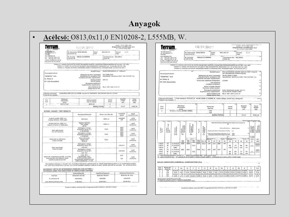 Anyagok Acélcső: Ø813,0x11,0 EN10208-2, L555MB, W.