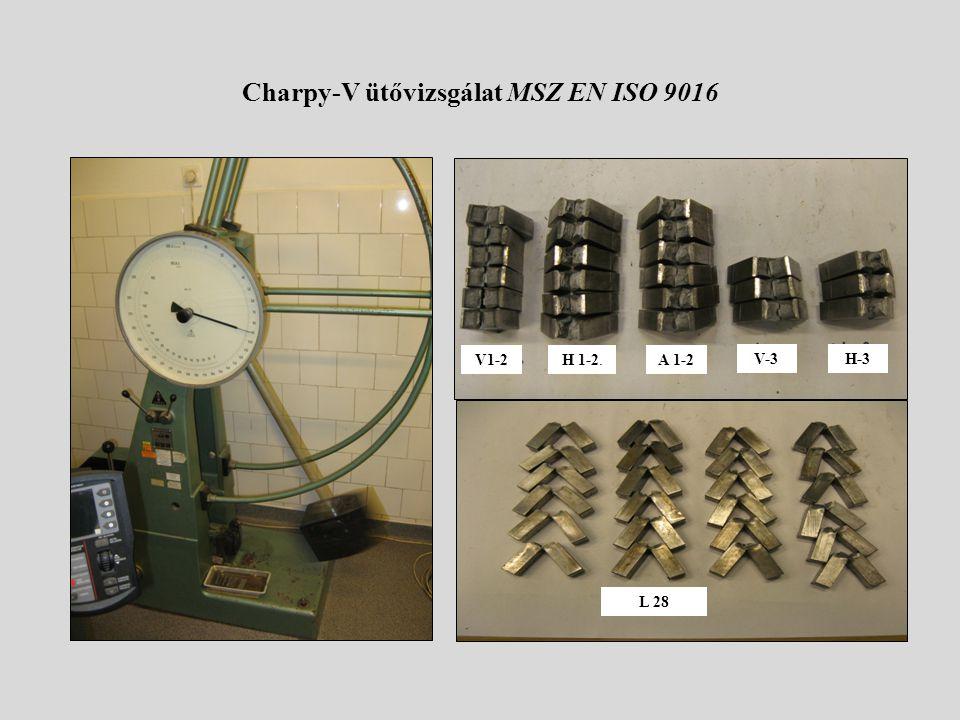 Charpy-V ütővizsgálat MSZ EN ISO 9016