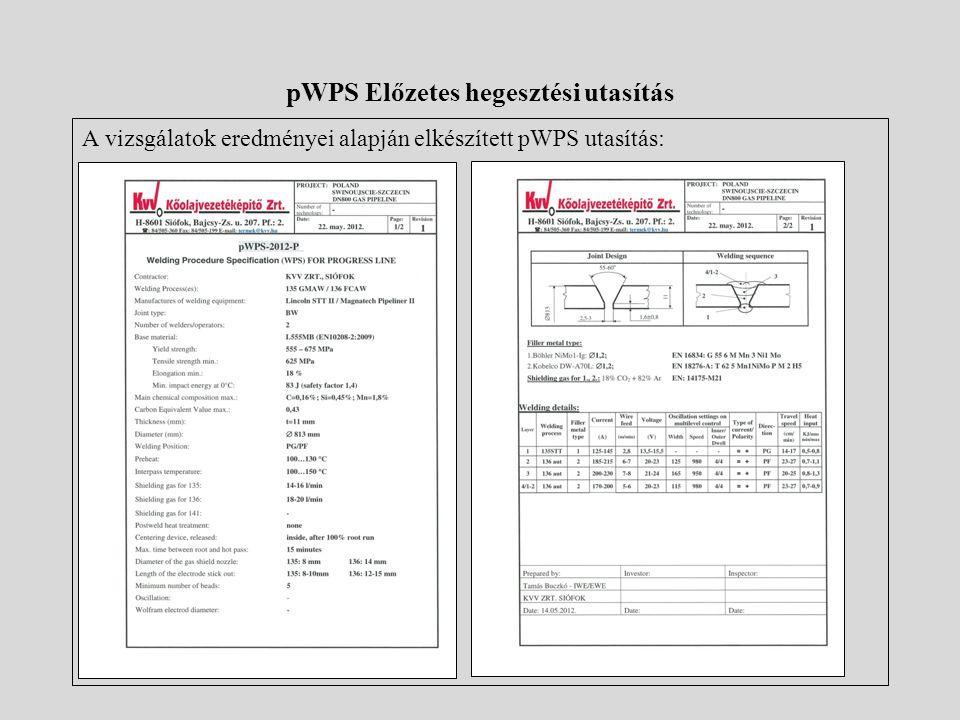 pWPS Előzetes hegesztési utasítás