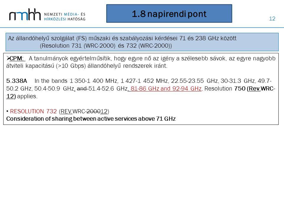1.8 napirendi pont Az állandóhelyű szolgálat (FS) műszaki és szabályozási kérdései 71 és 238 GHz között.