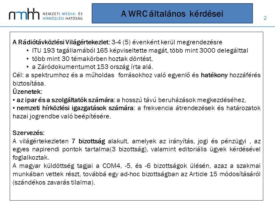A WRC általános kérdései