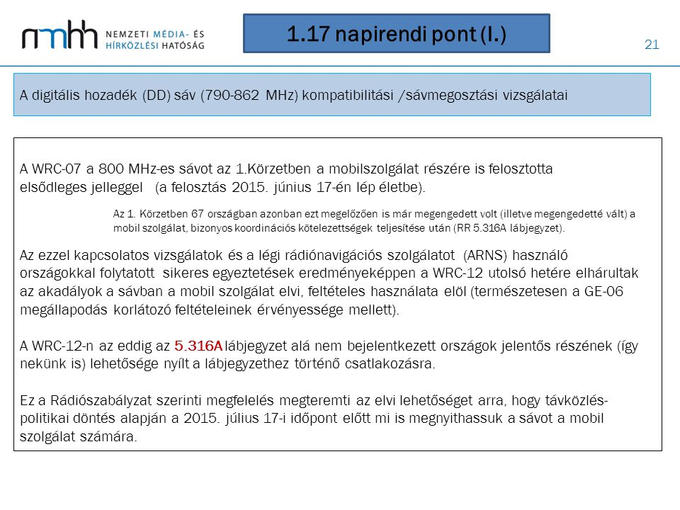 1.17 napirendi pont (I.) A digitális hozadék (DD) sáv (790-862 MHz) kompatibilitási /sávmegosztási vizsgálatai.