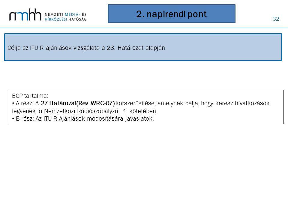 2. napirendi pont Célja az ITU-R ajánlások vizsgálata a 28. Határozat alapján. ECP tartalma:
