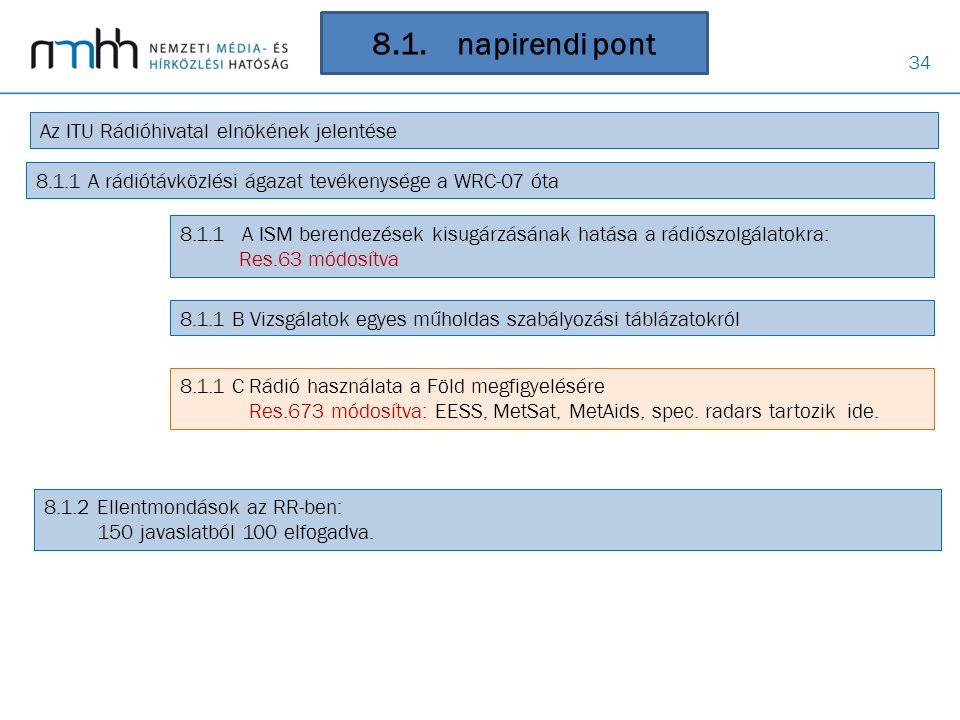 8.1. napirendi pont Az ITU Rádióhivatal elnökének jelentése