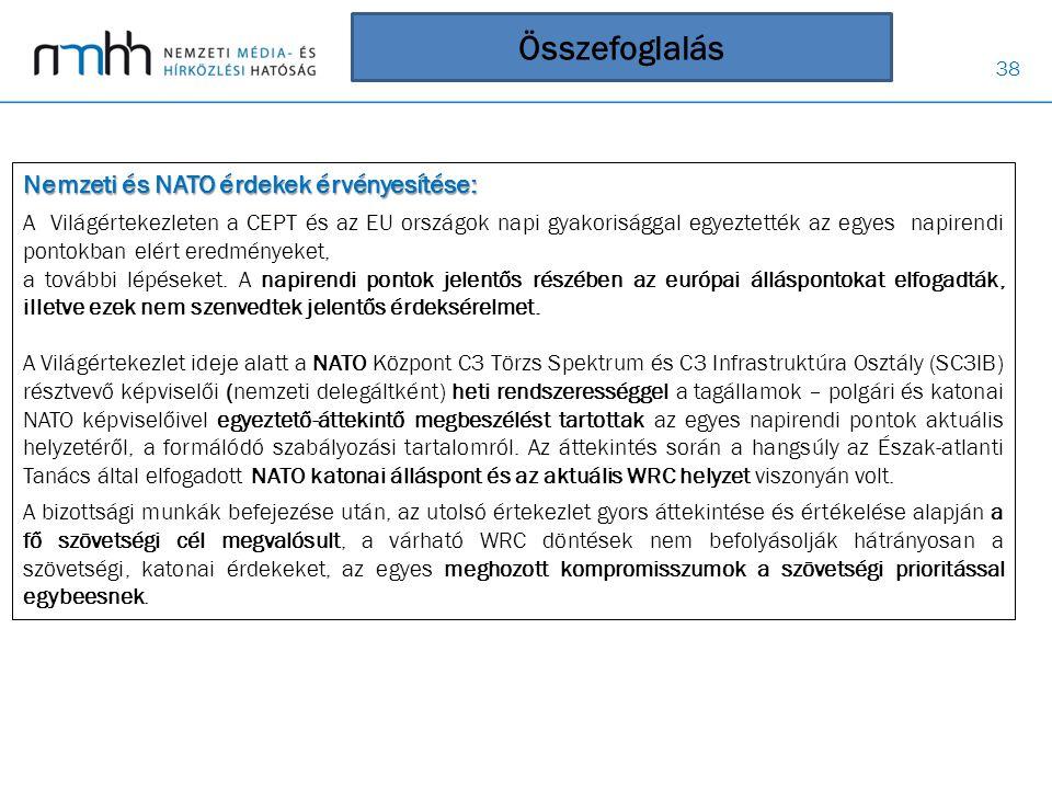 Összefoglalás Nemzeti és NATO érdekek érvényesítése: