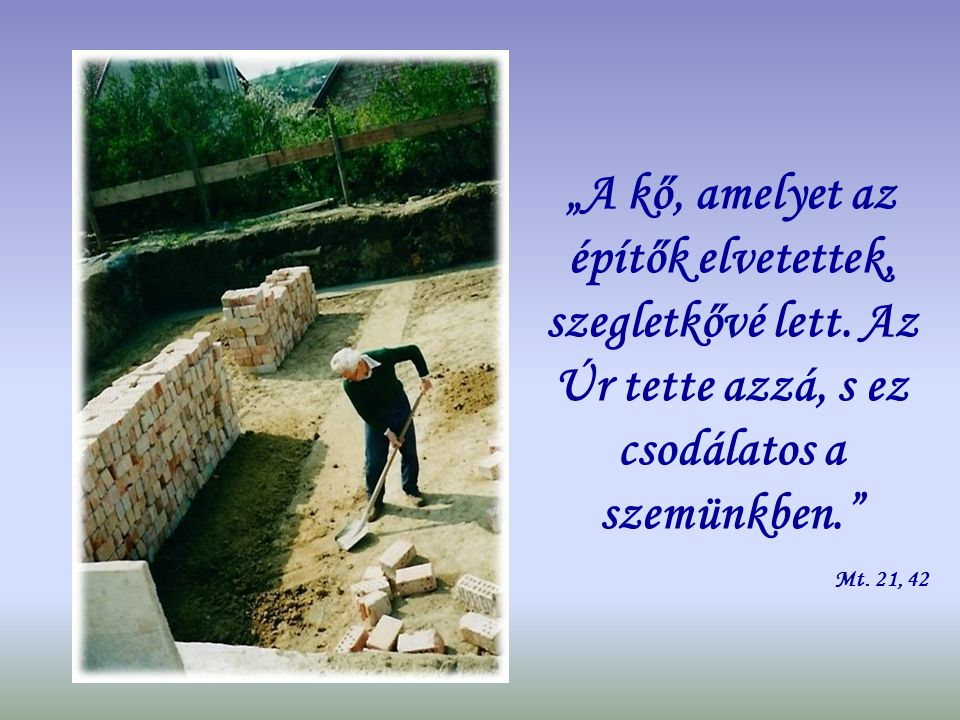 """""""A kő, amelyet az építők elvetettek, szegletkővé lett"""