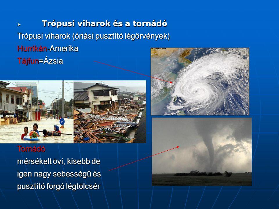 Trópusi viharok és a tornádó