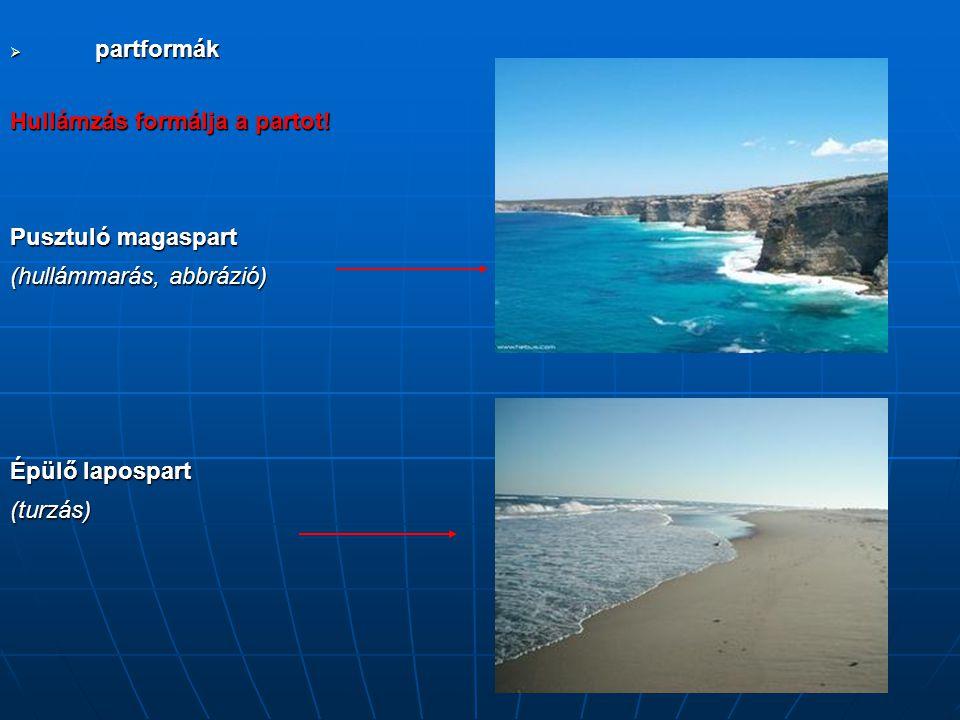 partformák Hullámzás formálja a partot! Pusztuló magaspart. (hullámmarás, abbrázió) Épülő lapospart.