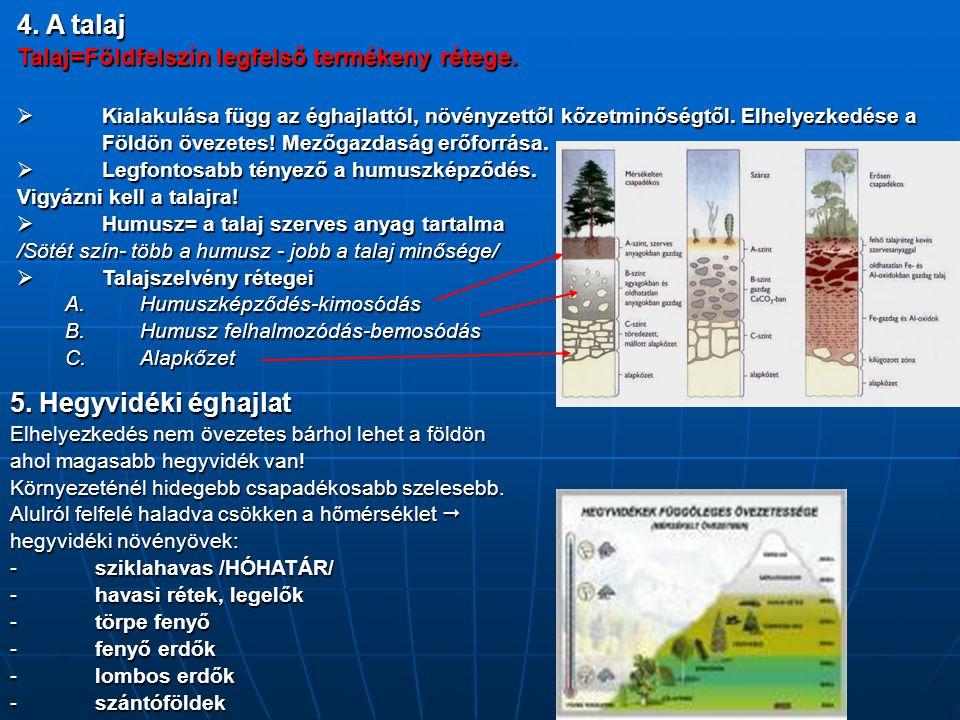 4. A talaj 5. Hegyvidéki éghajlat