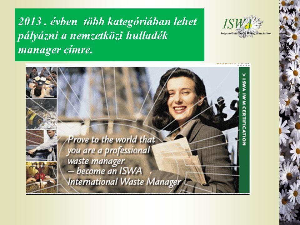 2013 . évben több kategóriában lehet pályázni a nemzetközi hulladék manager címre.