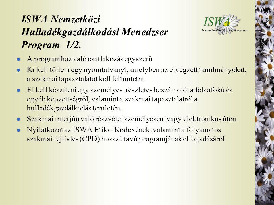 ISWA Nemzetközi Hulladékgazdálkodási Menedzser Program 1/2.