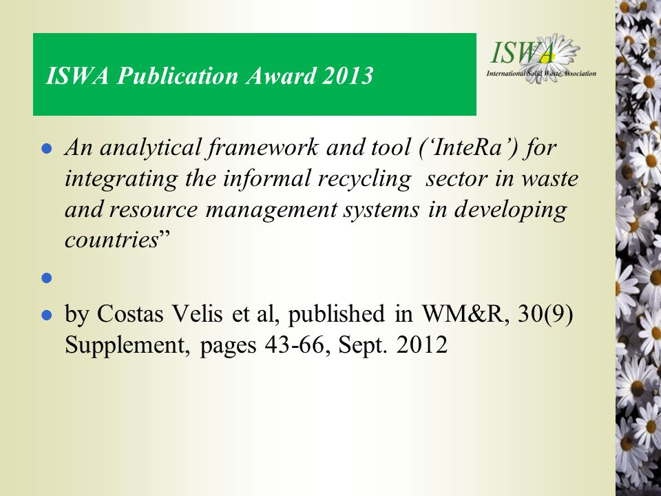 ISWA Publication Award 2013