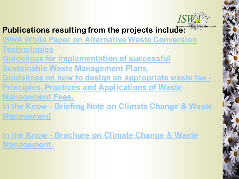Publications resulting from the projects include:
