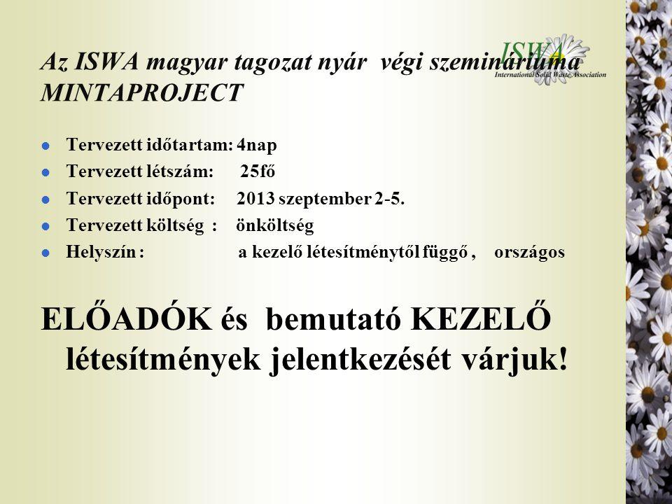 Az ISWA magyar tagozat nyár végi szemináriuma MINTAPROJECT