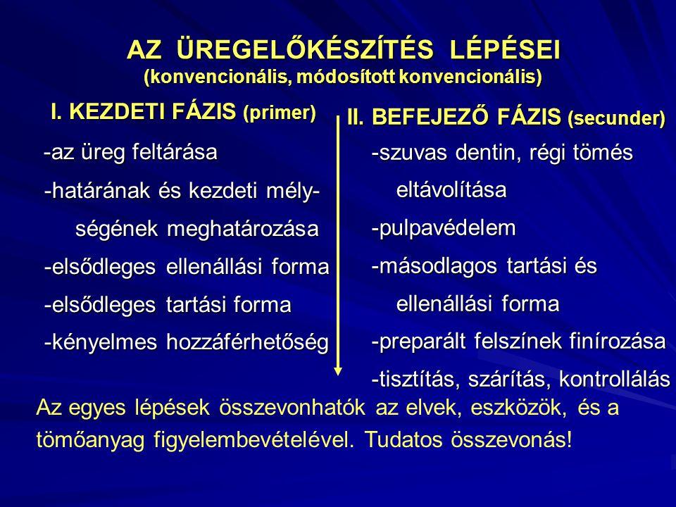 AZ ÜREGELŐKÉSZÍTÉS LÉPÉSEI (konvencionális, módosított konvencionális)
