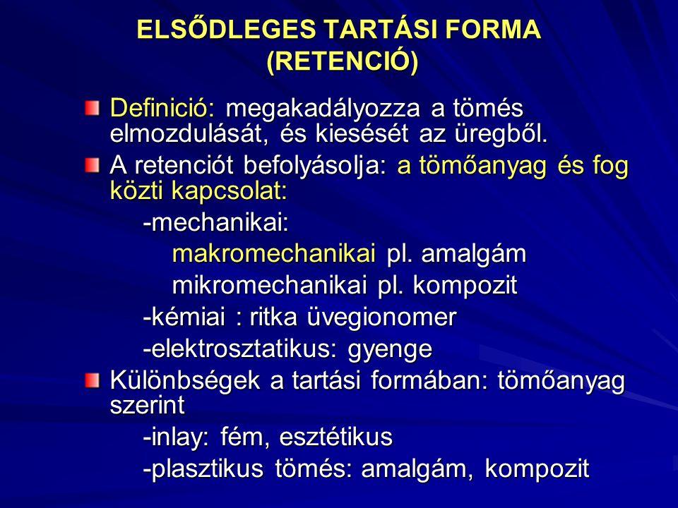 ELSŐDLEGES TARTÁSI FORMA (RETENCIÓ)