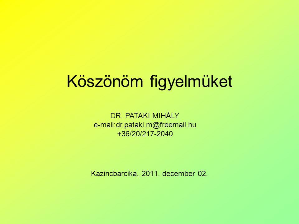 Köszönöm figyelmüket Kazincbarcika, 2011. december 02.