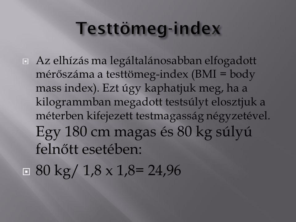 Testtömeg-index 80 kg/ 1,8 x 1,8= 24,96