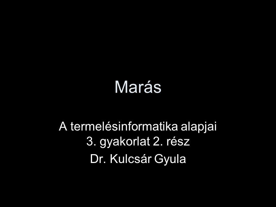 A termelésinformatika alapjai 3. gyakorlat 2. rész Dr. Kulcsár Gyula