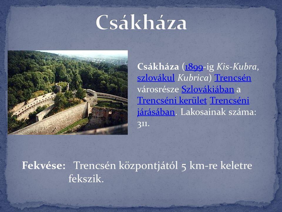 Csákháza Fekvése: Trencsén központjától 5 km-re keletre fekszik.