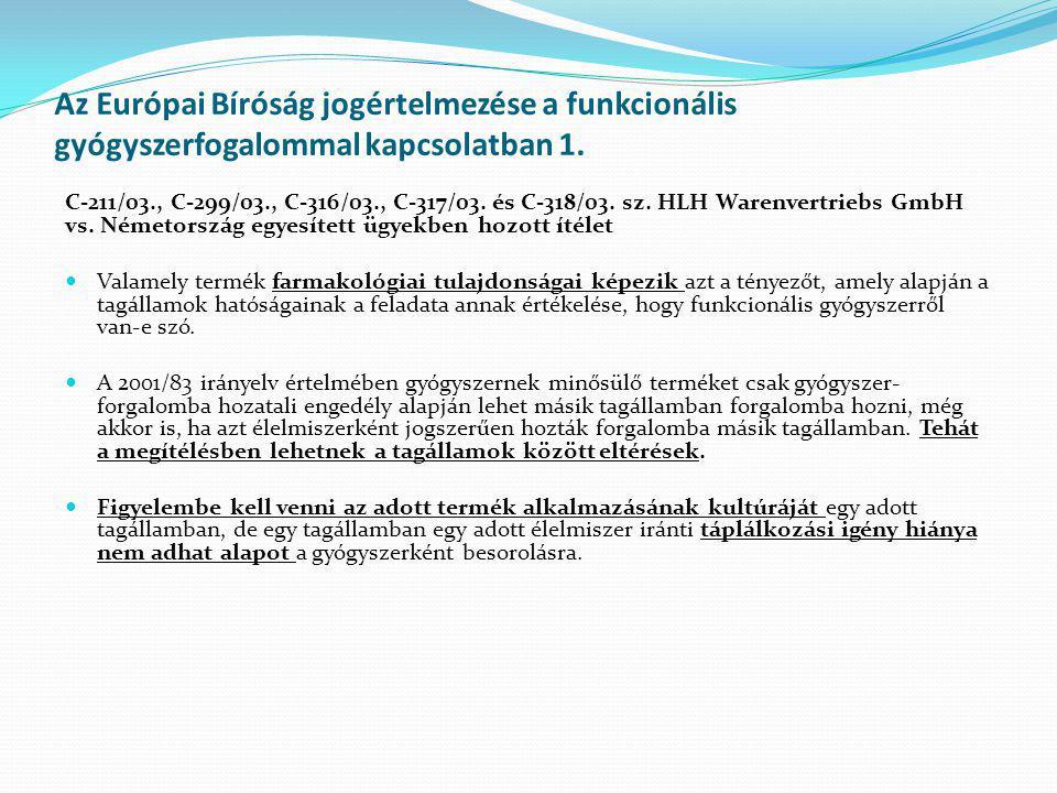 Az Európai Bíróság jogértelmezése a funkcionális gyógyszerfogalommal kapcsolatban 1.