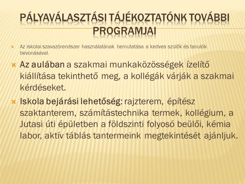Pályaválasztási tájékoztatónk további programjai